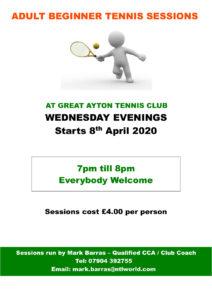 Wednesday evening adult beginner tennis sessions