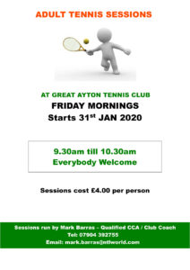 Friday adult tennis sessions