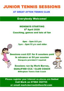 Monday Junior tennis sessions