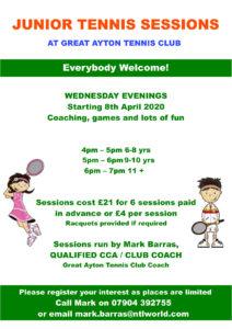 Wednesday evening junior tennis sessions